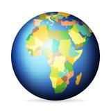 Politiskt jordklot Afrika vektor illustrationer