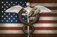 Politiskt medicinskt symbol och flagga Royaltyfria Bilder