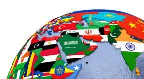 Polityczna Środkowy Wschód mapa ilustracja wektor