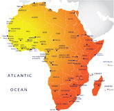 polityczna Africa mapa Fotografia Royalty Free