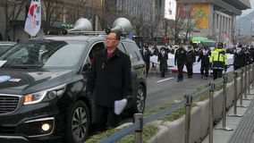 Polityczna demonstracja, Seul, Południowy Korea, 02 2017 Grudzień zdjęcie wideo