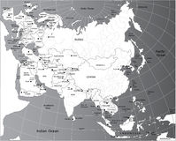 polityczna Eurasia mapa Obrazy Stock