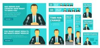 Polityczna kampania wyborcza Polityka lub biznesmena mówienie przed mikrofonem royalty ilustracja