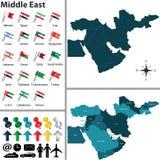 Polityczna mapa Środkowy Wschód ilustracji