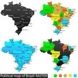 Polityczna mapa Brazylia Zdjęcia Stock