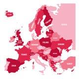 Polityczna mapa Europa kontynent w cztery cieniach menchie z białymi kraju imienia etykietkami i odizolowywać na białym tle ilustracja wektor