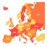 Polityczna mapa Europa kontynent w cztery cieniach pomarańcze z białymi kraju imienia etykietkami i odizolowywająca na bielu ilustracja wektor