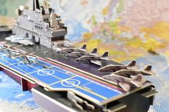 Polityczna mapa militarny wyposażenie Zdjęcia Stock