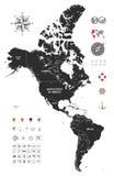 Polityczna mapa południowy i północny America Zdjęcie Royalty Free