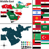 Polityczna mapa Środkowy Wschód Obrazy Stock