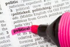 Polityczna słownik definicja obraz stock