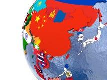 Polityczna wschodnia Azja mapa ilustracji