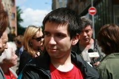 Polityczny aktywista Oleg Kozlovsky protestować w poparciu dla Khodorkovsky Zdjęcia Stock