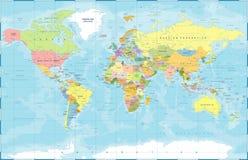 Polityczny Barwiony Światowej mapy wektor Obrazy Royalty Free