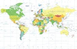 Polityczny Barwiony Światowej mapy wektor Zdjęcia Royalty Free