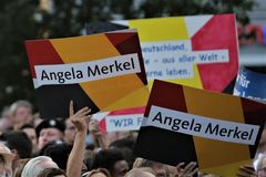 Polityczny wiec podczas Niemieckiej kampanii wyborczej która wygrywał CDU wczoraj Zdjęcie Royalty Free