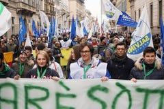 Polityczny wiec w Mediolan fotografia stock