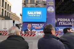 Polityczny wiec w Mediolan fotografia royalty free
