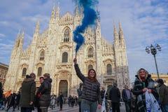 Polityczny wiec w Mediolan obraz stock