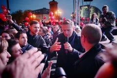 Polityk Alexei Navalny mówi przy opozycja wiecem zdjęcie stock