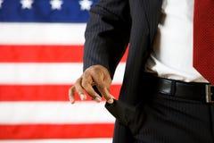 Polityk: Mężczyzna z Pustymi kieszeniami i Żadny pieniądze obraz royalty free