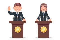 Polityk trybuny występu biznesmena bizneswomanu charakteru kreskówki projekta wektoru ilustracja ilustracja wektor