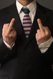 Polityk z USA barwiącym krawatem pokazuje palec obrazy royalty free
