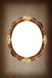 PolityrGrungebakgrund med den ovala ramen för tappning Royaltyfri Foto