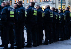 Polizei à Hambourg Rathausmarkt Images stock