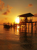 Polizei-Anlegestelle-Sonnenuntergangsulu-Meer-SE Asien Lizenzfreies Stockfoto