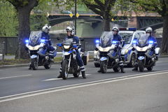 Polizei-Autokolonne Stockbild
