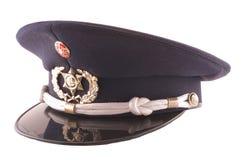 Polizei bedeckt mit einer Kappe Stockfotos