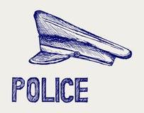 Polizei bedeckt mit einer Kappe. Gekritzelart Lizenzfreie Stockbilder