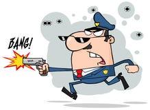 Polizei bemannt Betrieb mit einer Gewehr Stockfotografie