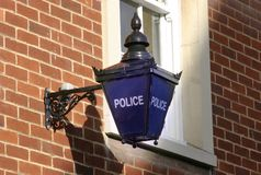 Polizei-blaues Lampen-Zeichen Stockfotos