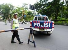 Polizei blockiert Straße Lizenzfreie Stockbilder