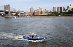 Polizei-Boot NYC Lizenzfreie Stockfotos