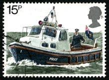 Polizei-Boots-BRITISCHE Briefmarke Lizenzfreie Stockfotos