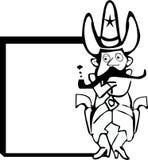 Polizei-Cowboy-Karikatur und Zeichen Lizenzfreie Stockbilder