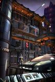 Polizei in der futuristischen Stadt Stockfoto