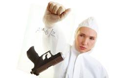 Polizei, die Beweis sichert lizenzfreie stockfotos