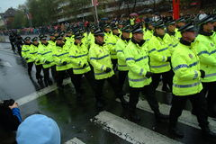 Polizei führt vor Stockfotografie