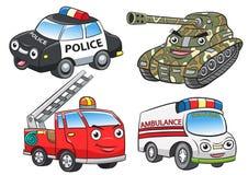 Polizei feuert Krankenwagenbehälterkarikatur ab Stockbilder