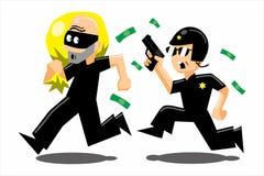 Polizei gegen Dieb Lizenzfreie Stockbilder