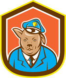 Polizei-Hundehunde- Schild-Karikatur Stockbild