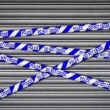 Polizei-Linie Metallfensterladen Lizenzfreies Stockfoto