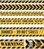 Polizei-Linie, Verbrechen und Warnungs-nahtlose Bänder Stockfotos