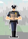 Polizei mit einem Bericht eines Stehbeifalls Stockbild