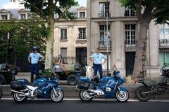 Polizei mit Motorrädern Stockfoto