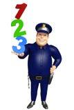 Polizei mit Zeichen 123 Stockbild